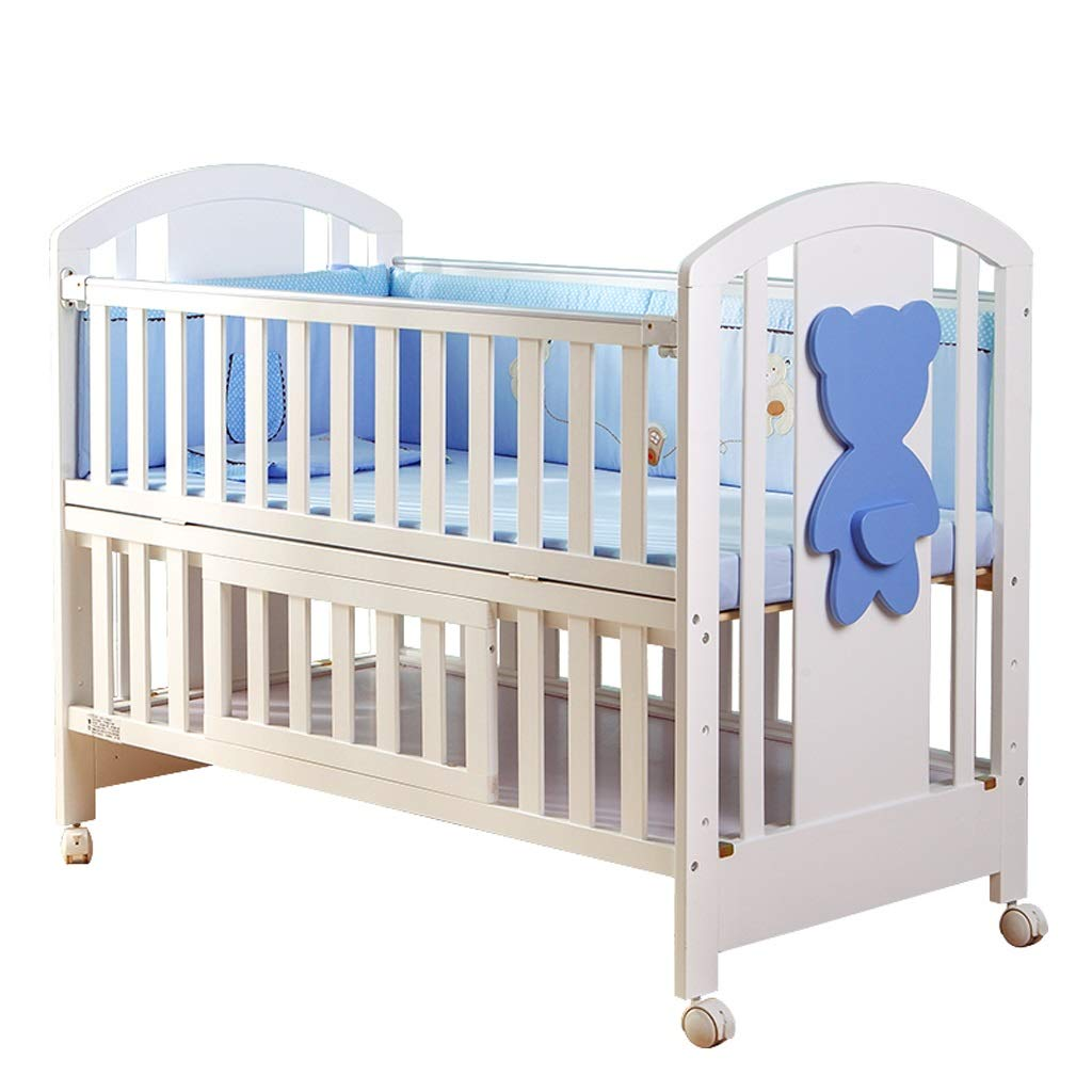 Crib Baby Cot Solid Wood Cradle Bed Multifunction Splicing Large Bed Storage (Color : White, Size : 1146596cm)