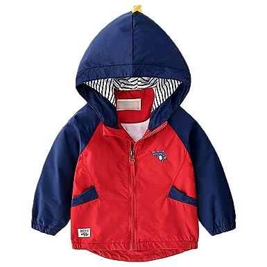 AMIYAN Jungen Regenjacke Regenmantel Kinder Wasserdicht Jacke Windbreaker mit Kapuzen