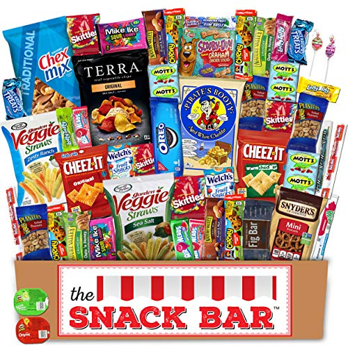 - The Snack Bar - Snack Care Package (50 count) - Variety Assortment of American Candy, Fruit Snacks, Granola Bars, Chips plus, Gift Snack Box for Lunches, Office, College Students, Valentine's Day