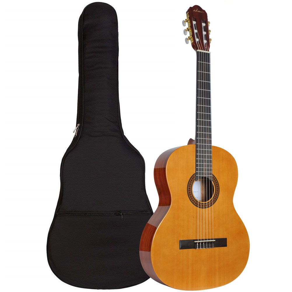 ADM 39 Inch Spanish Classical Guitar with Soft Nylon Strings, Natural Gloss Finish - FREE Padded Bag Included