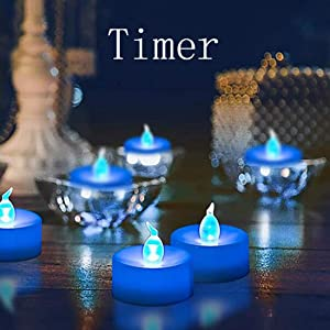 Flameless LED Tealight,Set of 12,Realistic Blue Flickering LED Candle with Timer,Battery Operated Flickering LED Candle for Halloween,Wedding,Christmas,Table Dinning,Home Decor