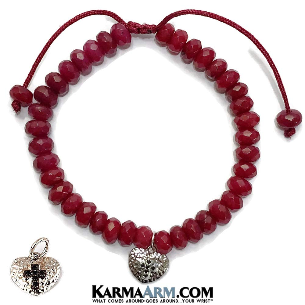 Natural Red Jade Meditation Spiritual Pull Tie Mantra Reiki Healing Energy Boho Chakra Wrap Yoga Jewelry /& Gifts Cross in Heart KarmaArm Heart Charm Bracelet