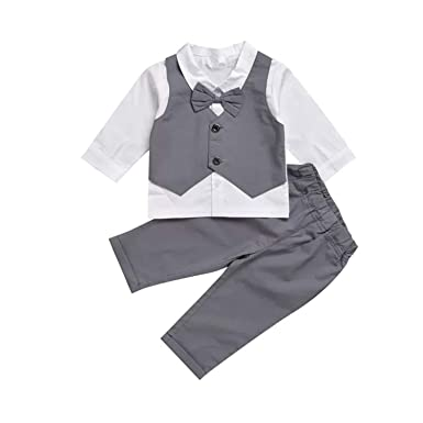 1f431f8d9 Gubabycci Infant Toddler Baby Boy Gentleman 2pcs Long Sleeves Formal Party  Wedding Suits Outfits