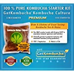 "getkombucha, Kombucha Starter KIT, Make Raw Organic Kombucha Tea Starter Kit 3 ""The tea starter kit was packaged great and the easy instructions gave us a wonderful tea. We are already on our second batch."" (5 Stars) Janice Smith, Amazon Customer Review"