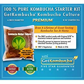 "Getkombucha, kombucha starter kit, make raw organic kombucha tea starter kit 1 ""the tea starter kit was packaged great and the easy instructions gave us a wonderful tea. We are already on our second batch. "" (5 stars) janice smith, amazon customer review"