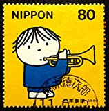Boy with trumpet, Music -Handmade Framed Postage Stamp Art 22428AM