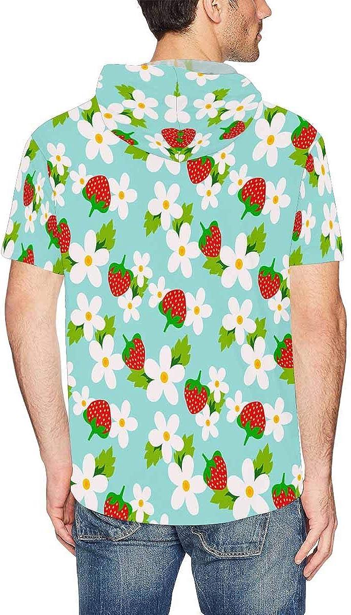 INTERESTPRINT Mens Hoodies Shirts Floral Strawberry Lightweight Short Sleeve Pullover Tops XS-2XL