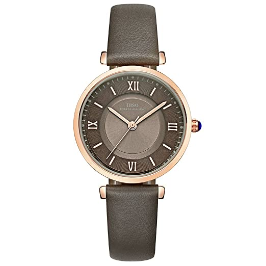 Amazon.com: IBSO Ladies Watches Leather Band Round Case Fashion Women Watches on Sale relojes Mujer (6602-Grey): Watches