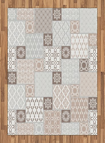 Arabian Area Rug by Ambesonne, Oriental Motif Pastel Patchwork Pattern with Filigree Ornaments Illustration, Flat Woven Accent Rug for Living Room Bedroom Dining Room, 5.2 x 7.5 FT, White Beige Grey by Ambesonne