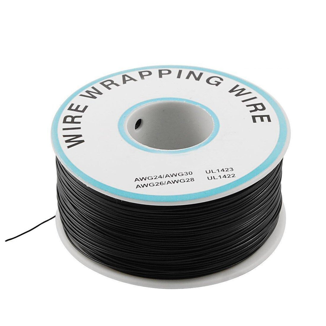 Saim - P/N B-30-1000 - Fil de wrapping ou câblage en étain plaqué cuivre - AWG 30 - pour réparations sur circuits imprimés - 200m, blanc, A00047