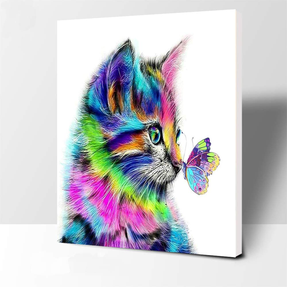 iFymei Paint By Number Kits Paintworks Acrylic DIY Oil Painting for Kids and Adults Beginner Animals Canvas ( Color Cats and Butterflies Framed ) by iFymei