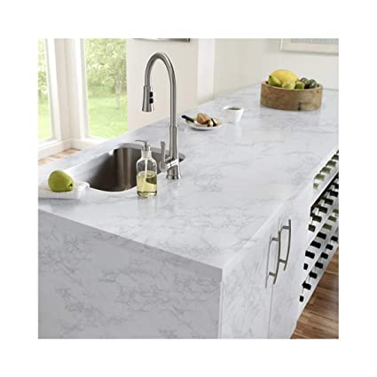 Bon Thick Waterproof Self Adhesive Wallpaper Granite White/Gray Roll Removable  Film Kitchen Contact Paper