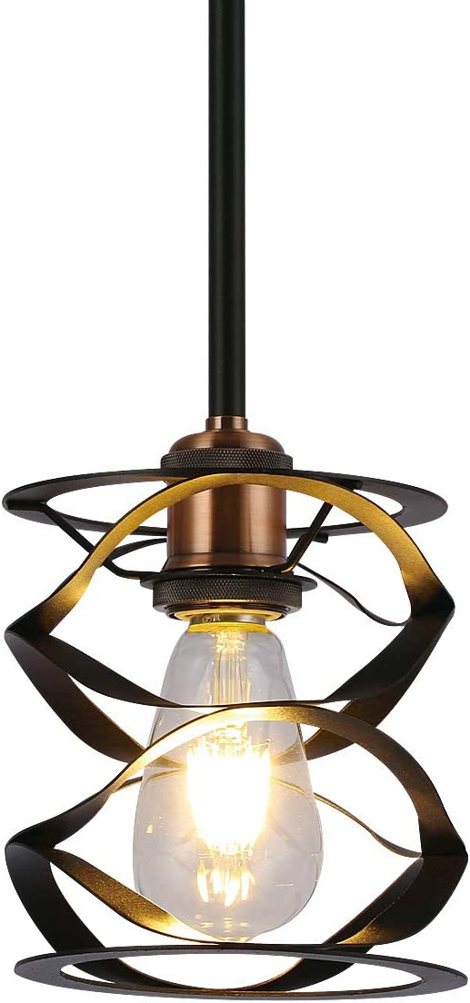 Industrial Pendant Light Vintage Farmhouse Rustic Kitchen Island Black Cage Mini Hanging Lighting Fixtures for Dinning Room Adjustable