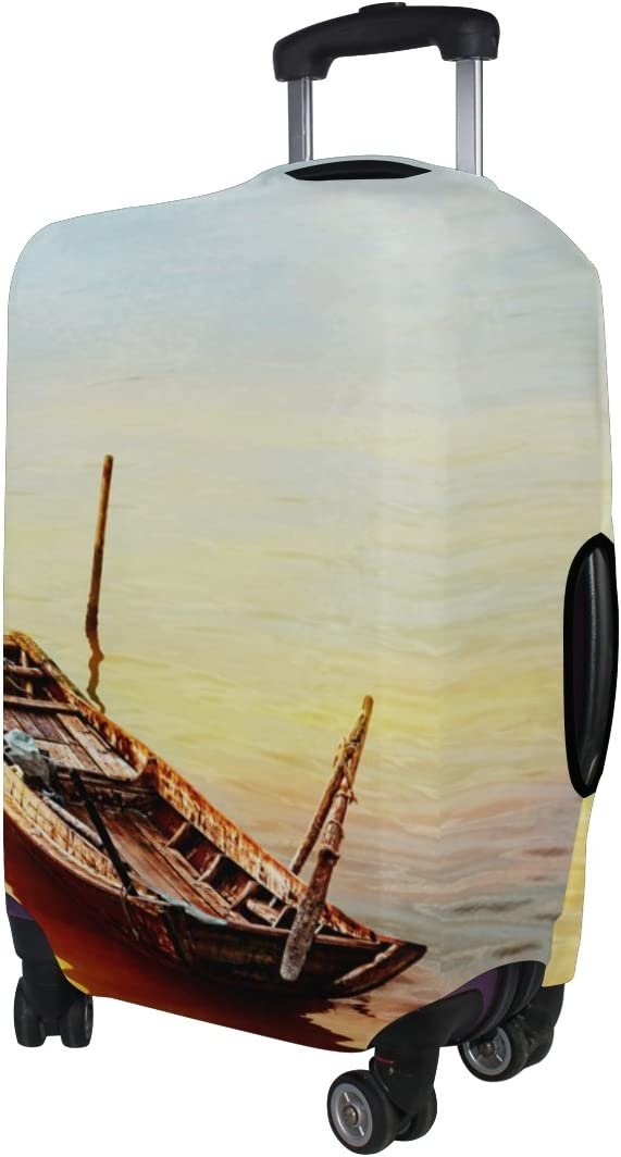 LEISISI Fishing Boat Under The Sunset Luggage Cover Elastic Protector Fits XL 29-32 in Suitcase
