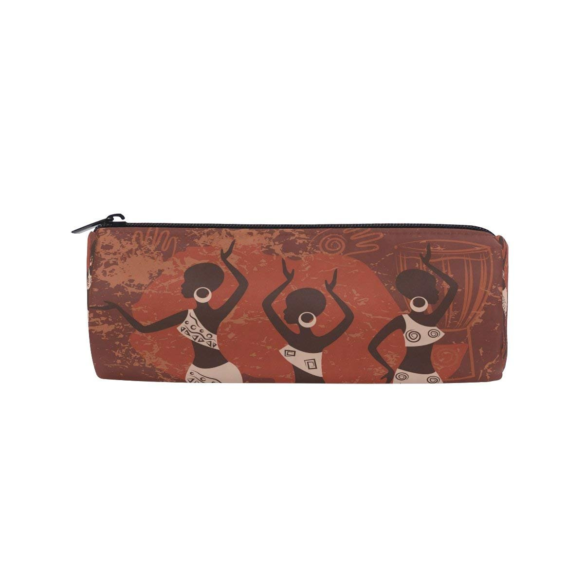 Africa Woman Art Dancing Round Pencil Case Stationery Bag Zipper Pouch Pencil Holder