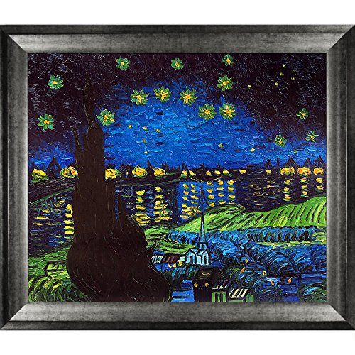 La Pastiche Starry Rhone Collage Framed Hand Painted Original Artwork With Athenian Distressed
