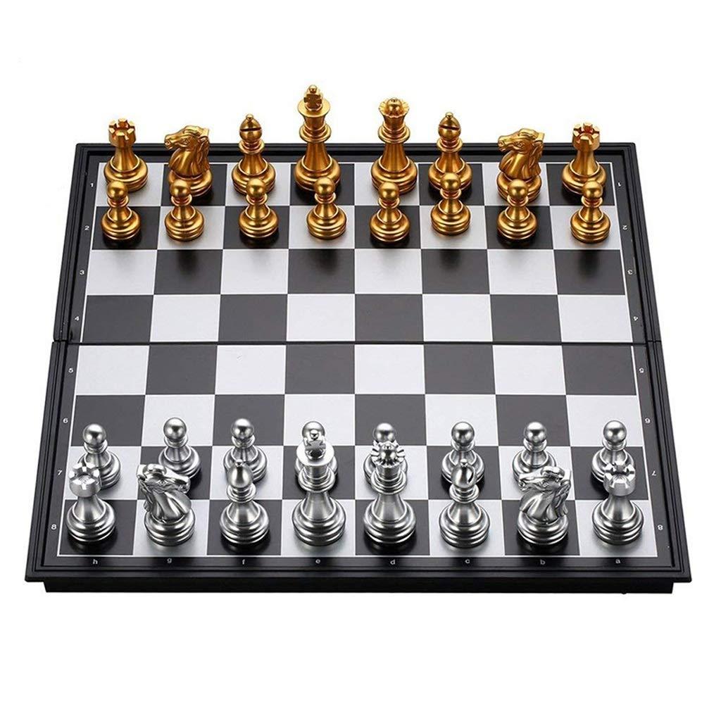promociones Multi-Colorojo 3636CM Juegos tradicionales Ajedrez Juego de ajedrez de de de viaje magnético plegable para niños adultos Niños Entrenamiento de los estudiantes Juego de tablero de ajedrez Piezas de ajedrez de oro y plata Juegos  barato en alta calidad