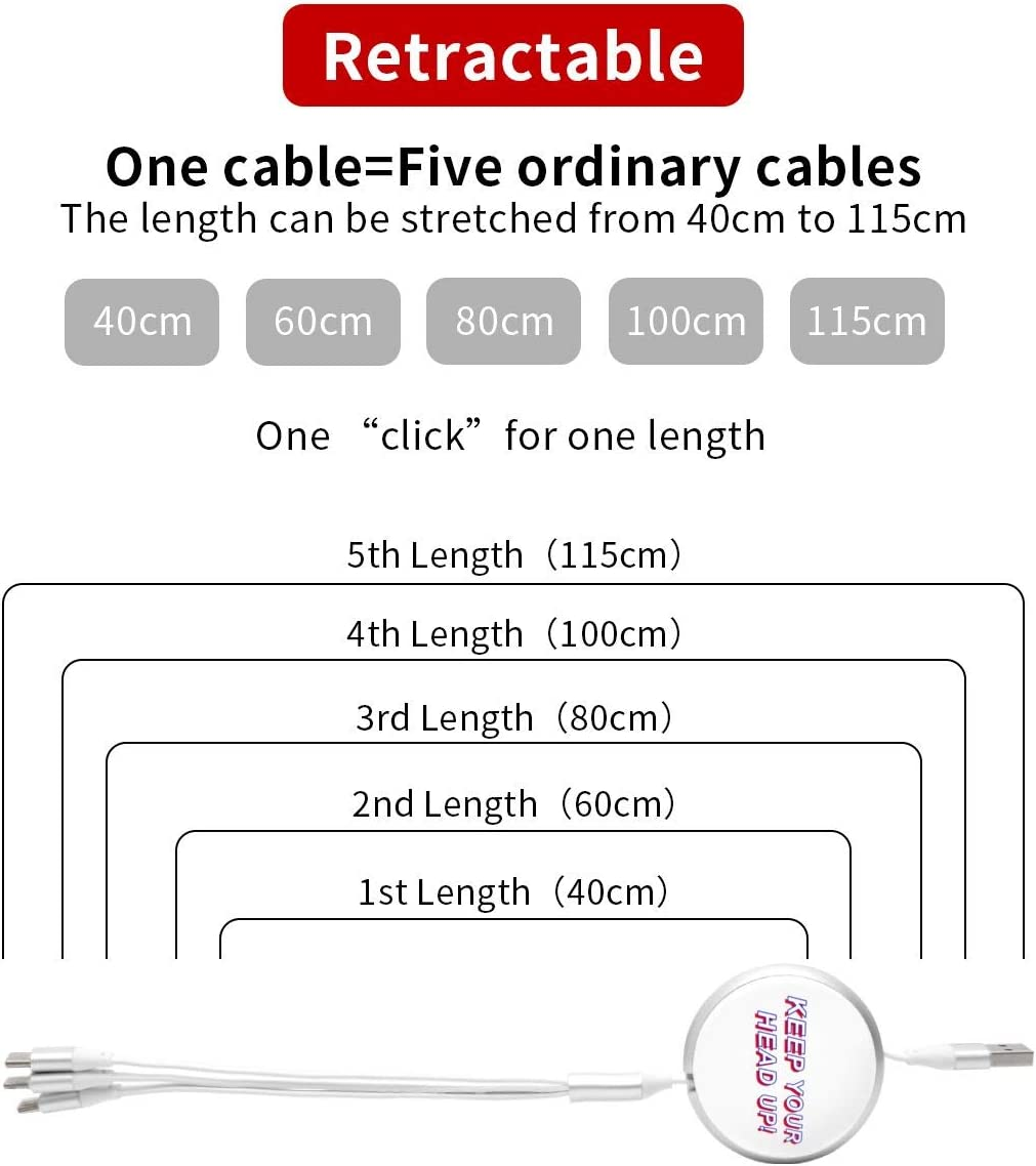 Keep Your Head Up Round Telescopic Aluminum Alloy Shell Charging Cable Three-in-One Data USB Cable Phone Charger