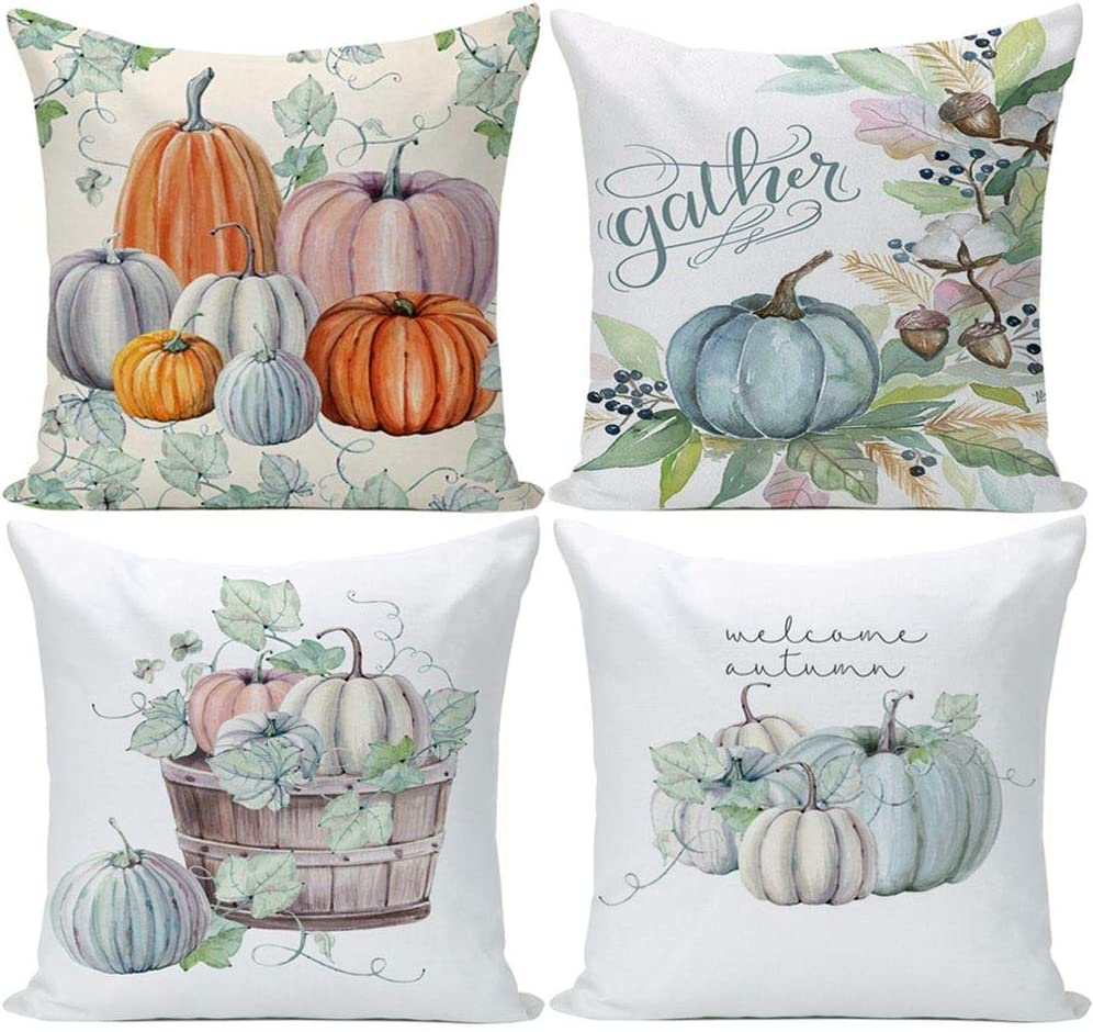 Wilproo Pumpkin Decorative Throw Pillow Covers Set of 4, Pumpkin Throw Pillow Covers Cotton Linen Autumn Harvest Thanksgiving Day Christmas Decor Farmhouse Pillow Case Cushion Cover Square 18