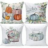 Pumpkin Decorative Throw Pillow Covers 20x20 Set of 4, Autumn Harvest Thanksgiving Day Christmas Decor Farmhouse Pillow…