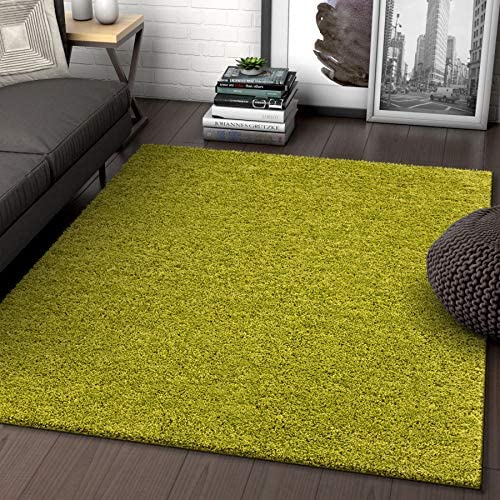 Solid Retro Modern Green Shag 5×7 5 x 7 2 Area Rug Plain Plush Easy Care Thick Soft Plush Living Room Kids Bedroom