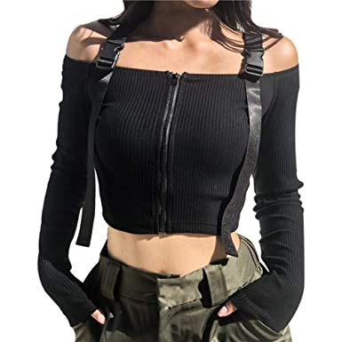 344b796ed957c3 AOJIAN Women Hoodie Long Sleeve Hooded Solid Straps Off Shoulder Zipper  Sexy Short Sweater Pullover at Amazon Women s Clothing store