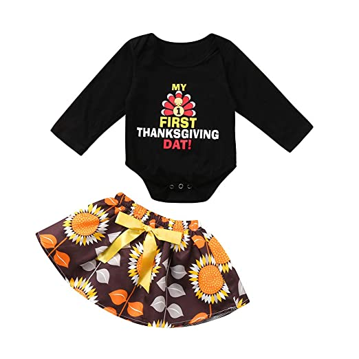 1efacdbb26c Rucan Infant Baby Girls Turkey Thanksgiving Day Tops Bow Skirt Outfits Sets  (A
