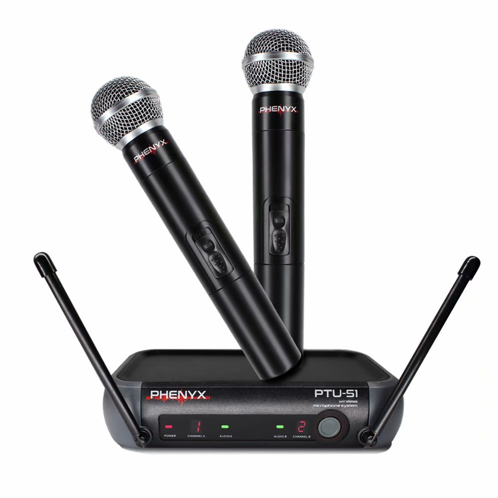 Phenyx Pro Dual UHF Handheld Wireless Microphone System, Portable Size, Fixed Frequency, Interference-free, Ideal for Church, Karaoke, Parties, Events (PTU-51)