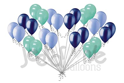 Amazoncom 24 Pc Light Navy Blue Mint Green Latex Balloons Party
