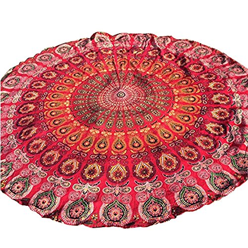 Forthery Indian Mandala Swimwear Tunic Round Beach Chiffon Throw Tapestry Hippy Gypsy Yoga (Heart Shell Anklet)