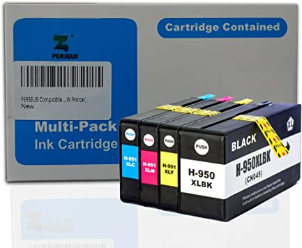 Perseus - Cartuchos de tinta de repuesto para HP 950 951 negro/cian/magenta/amarillo de alto rendimiento XL, funciona con Officejet Pro 8600 8640 8616 251dw 276dw, 950XL/951XL, paquete combinado: Amazon.es: Electrónica