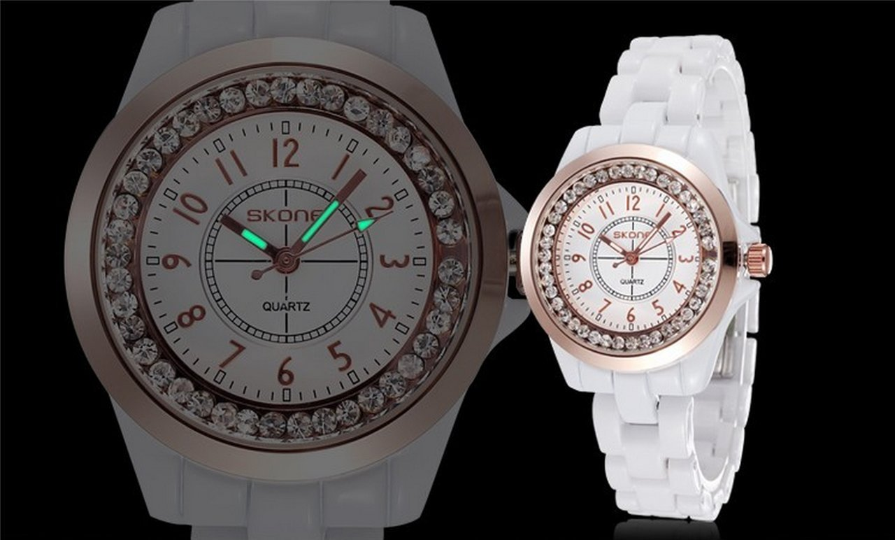 WUTONYU(TM) Women's White Ceramic Band Wrist Watch Luminous Rhinestones Quartz Watches(Silver) by WUTONYU (Image #4)