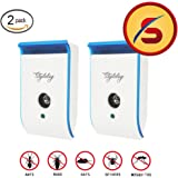 Ultrasonic Pest Repeller Electronic Pest Control Plug In Pest Repeller for Insect - Mice, Roaches, Bugs, Fleas, Mosquitoes, Spiders, Non-toxic Environment friendly, Humans & Pets Safe, 2 Pack
