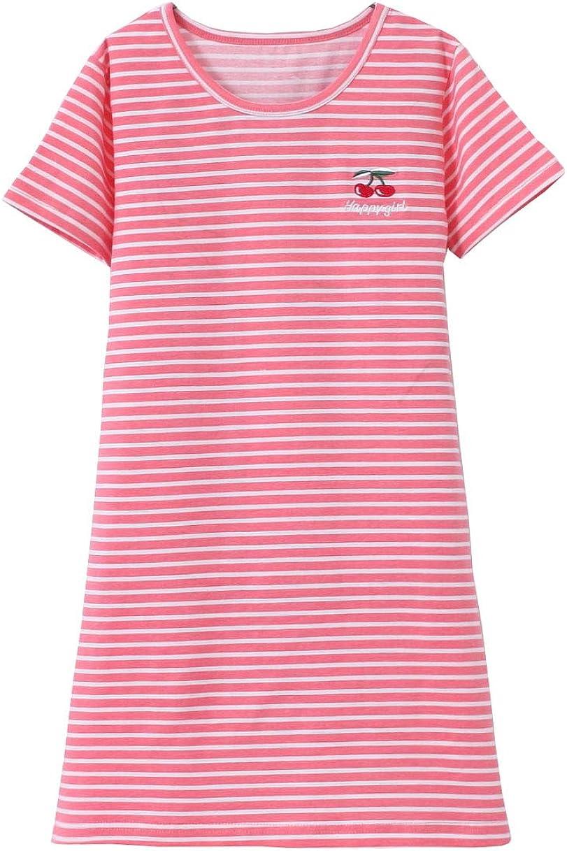 ABClothing Girls Cotton Pretty Cherry Camicia da Notte 3-12 Anni Verde Rosso Giallo