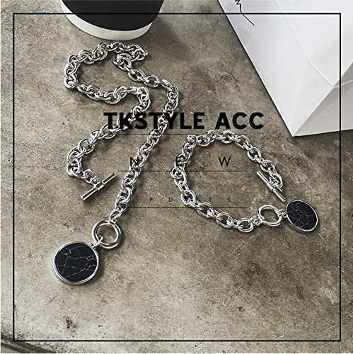 Korea Unique Marble Wafer Processing Metal Chain Denim Casual Creative Exaggeration Short Necklace Pendant Bracelet Bangle (Bracelets