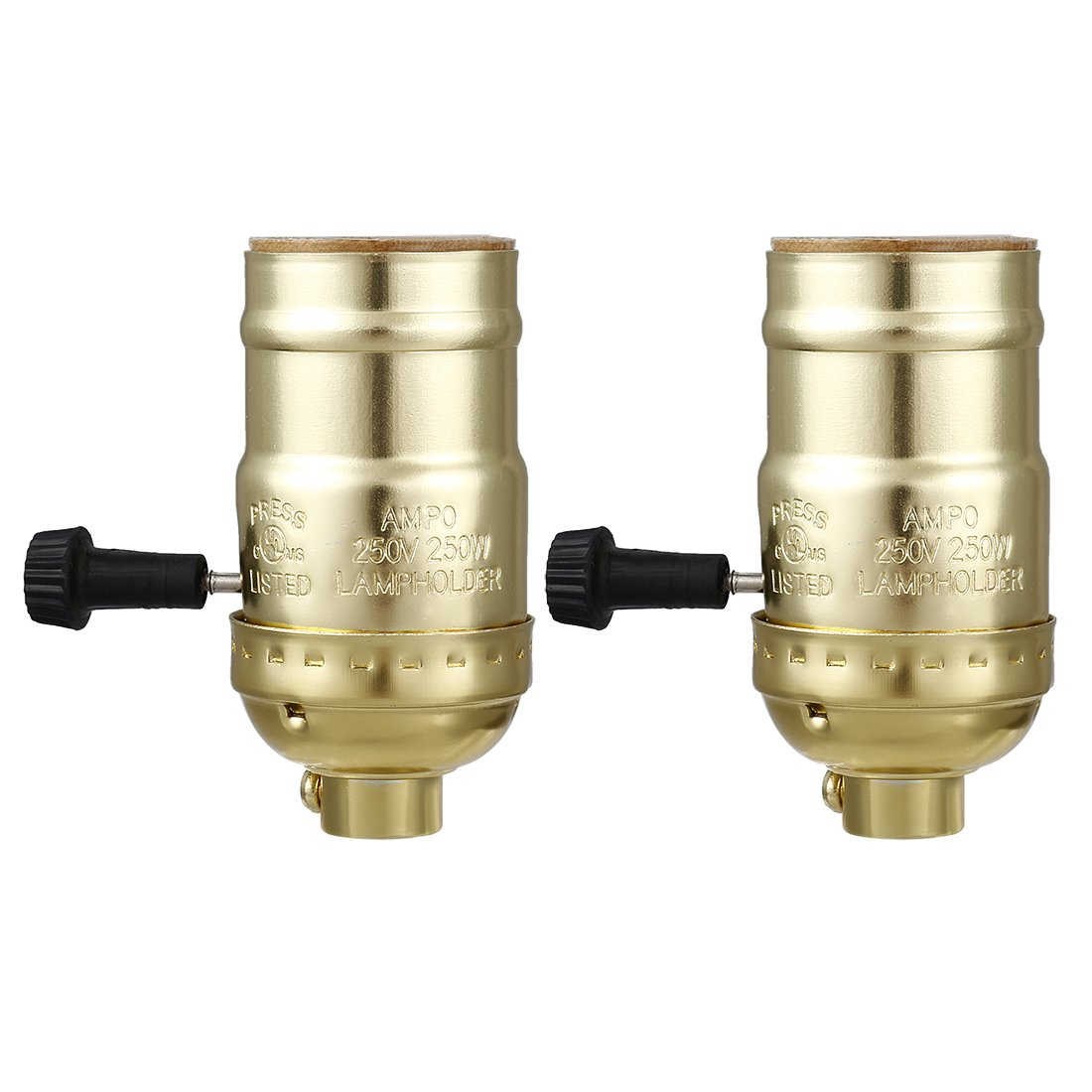 uxcell 2 Pcs 3 Way Lamp Socket Holder UL Listed E26 Type Removable Turn Knob Aluminum Shell Gold