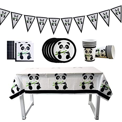Toyvian Pennant Banner Panda Papel Plato Plato Taza Tejido ...