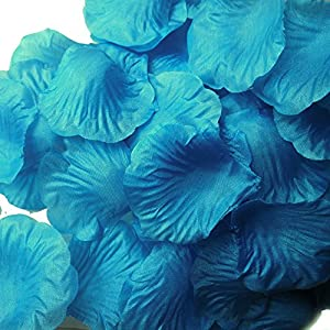 LEFV&Trade; 1000pcs Silk Rose Petals Artificial Flower Wedding Party Vase Decor Bridal Shower Favor Centerpieces Confetti Decorations (40 Colors for Choice) (Acid Blue 1) 111