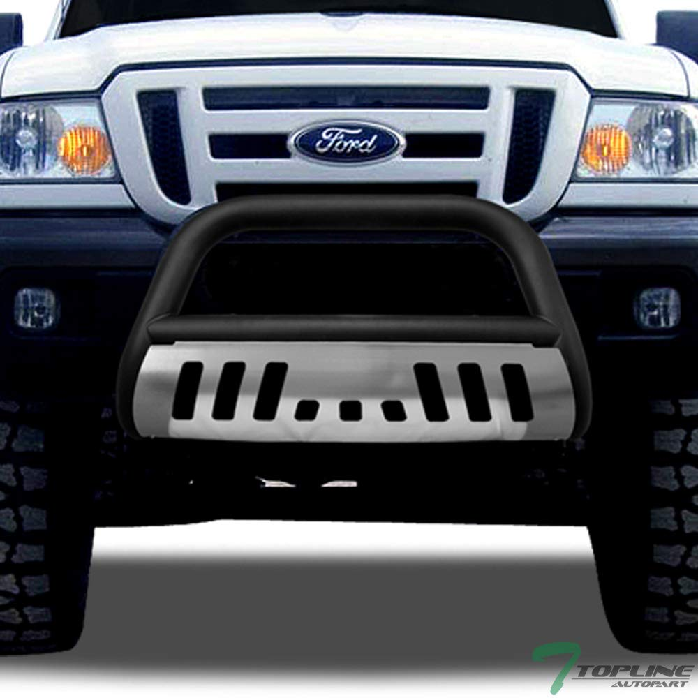 Topline Autopart Matte Black Bull Bar Brush Push Front Bumper Grill Grille Guard With Brush Aluminum Skid Plate For 98-11 Ford Ranger Topline_autopart