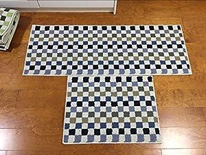 Easychan 2 Piece Carpet Rubber Backing Non-Slip Kitchen Mat Doormat Area Rugs
