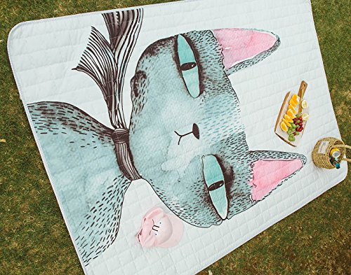 Fresh Pattern Picnic Rugs Cat - 100% Polyester Anti-slip Wat
