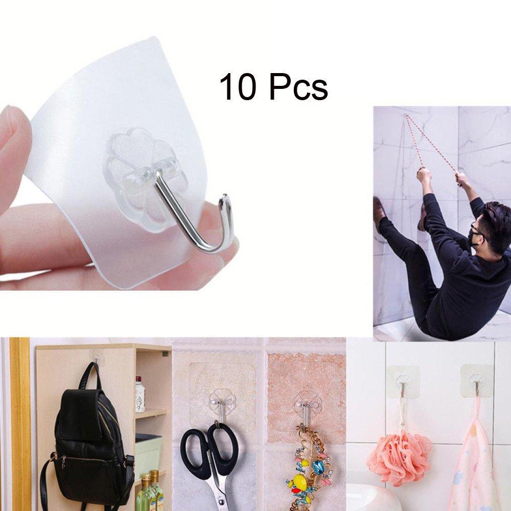 JPJ(TM) ❤️Wall Hanger ❤️10Pcs Home Fashion Strong Transparent Suction Cup Sucker Wall Hooks Hanger Kitchen Bathroom (White)