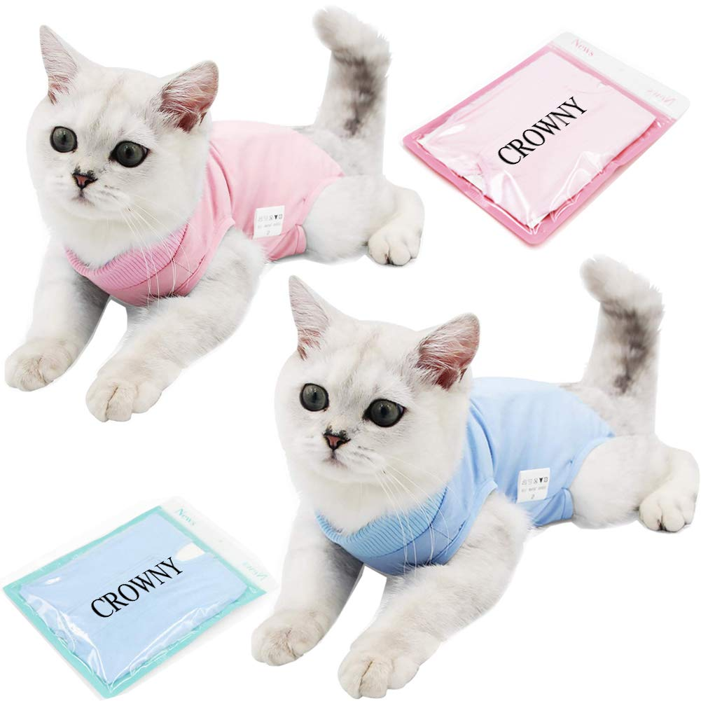 CROWNY Professional Recovery Suit for cat Abdominal Wounds or Skin Diseases, After Surgery Wear, E-Collar Alternative for Cats Dogs, Home Indoor Pets Clothing by CROWNY
