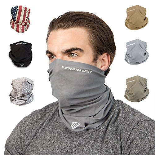 Terra Kuda Face Clothing Neck Gaiter Mask - Non Slip Light Breathable for Sun Wind Dust Bandana Balaclava (Wolf Grey)