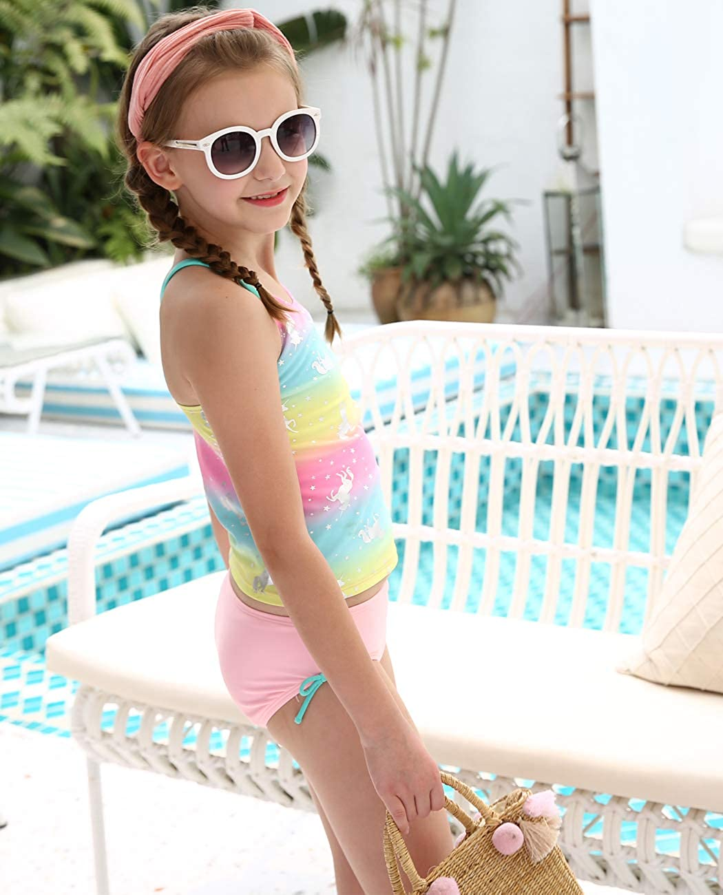 iDrawl Rainbow Swimwear for Girls One Piece Hot Silver Unicorn Beach Sport Swimming Suits