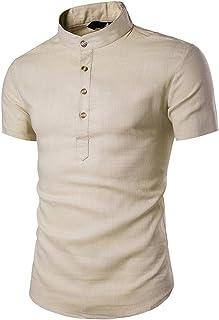 Chemises Homme Chemises Bureau Hommes Col Montant Manches Courtes Look Quotidien Chemises en Lin Tops Blouse HCFKJ - MS