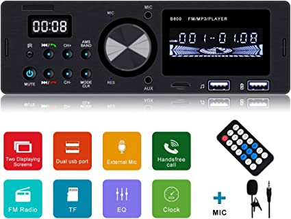 Car Stereo Bluetooth Receiver Wireless Remote Control Included Single Din Universal Car Radio FM//WMA//MP3 Stereo Player with USB Port