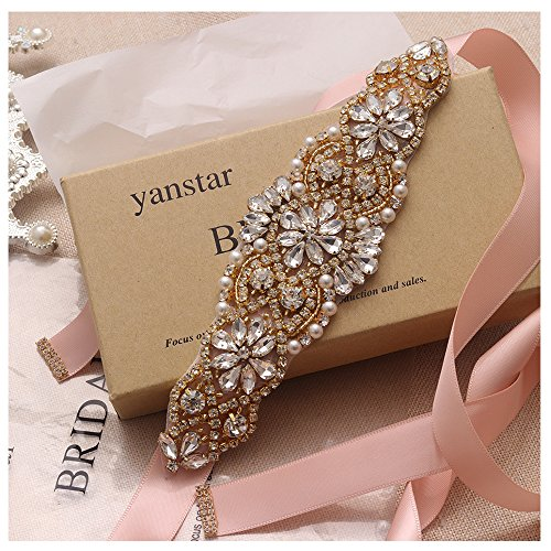 Yanstar Blush Sash Crystal Applique Wedding Bridal Belts In Gold With Pearls Beaded On Wedding Prom Dress-7.7In2In