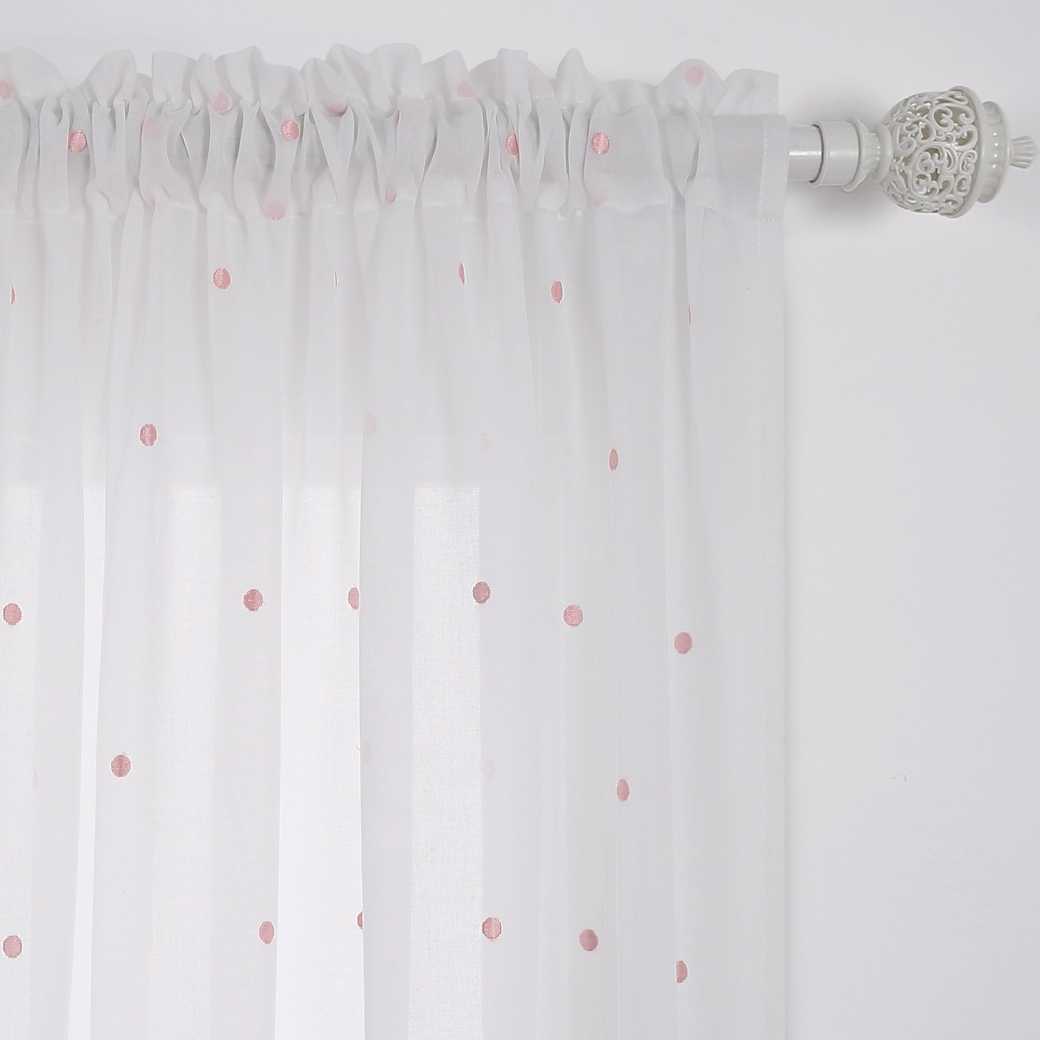 Amazon Deconovo Curtains Embroidered Pink Circles Sheer White