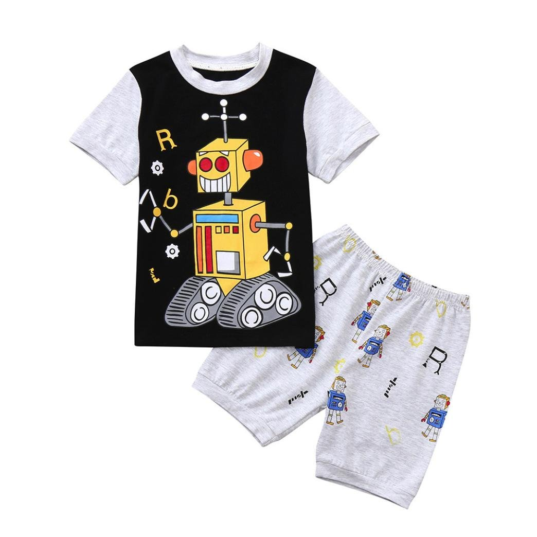 DIGOOD for 1-7 Years Old, Toddler Baby Boys Robot Print T-Shirt Tops+Shorts, Children 2Pcs Outfits Summer Clothes Sets